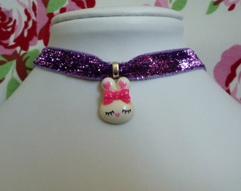 Kawaii Purple Glitter Bunny Rabbit Choker Necklace