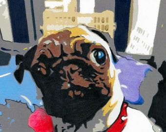 pug art illustration print