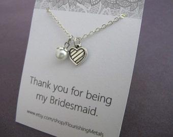 Wedding Bridesmaid Gift, Bridesmaid Jewelry, Bridesmaid necklace, Bridal shower favors, Bridal shower gifts, bridal party gifts