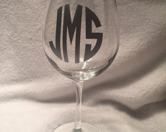 Monogram Wine Glass
