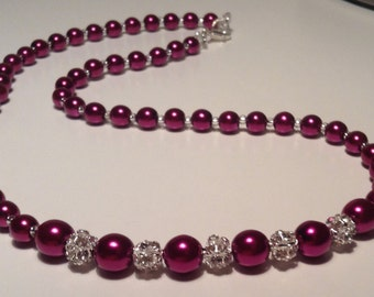 Bling purple pearl and rhinestone necklace, gift for her