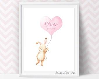 Nursery Wall art, Baby girl art print, Bunny Nursery decor, Baby girl room art, New Baby Gift, Newborn Girl Gift