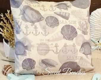Shells and Coral Print  Beach Pillow Covers Ocean Seaside Coastal Nautical Decor