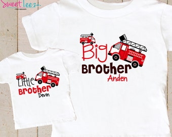 Big Brother FireTruck Shirt SET Little Brother Fire Truck Red Sibling Personalized Big Sister Big Brother Shirts bodysuit SET