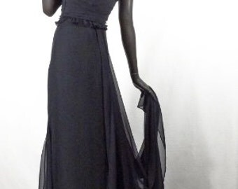 1930s 1940s Style Evening Gown Black Satin and Chiffon Vera Wang Sz 6