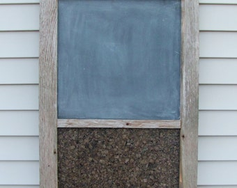 Rustic Barnwood Chalkboard with Corkboard and Hooks - Message or memo board made of salvaged wood, home or wall decor, home organization