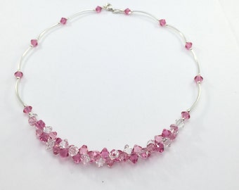 Sterling Silver Necklace, Swarovski Crystal Necklace , Pink Lupin Flower Necklace