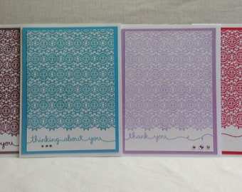 Set of Lace-Look Handmade Note cards