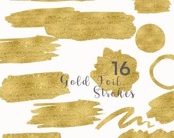Gold Foil Strokes Clip Art, Gold Foil Splotches Overlay, Holiday Watercolor Clip Art, Gold Foil Strokes Graphics, Blog header graphics