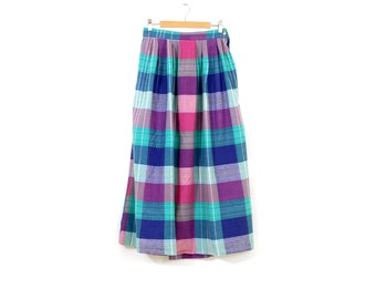 Vintage madras skirt / Long cotton summer skirt / 80s bright Nantucket skirt / Ankle plaid skirt