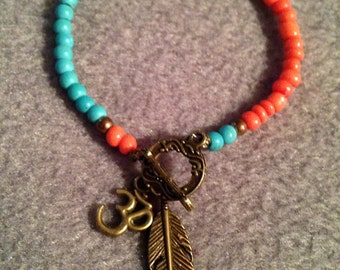 Unique Spiritual Contrast OM Yoga Clasp Bracelet Birds of a Feather 7IN