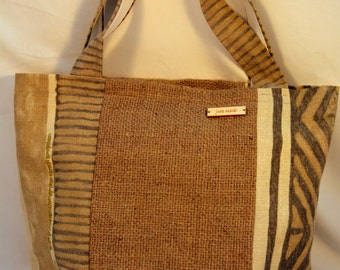 Hessian Eco-chic Tote. Handmade upcycled hessian shoulder bag. Perfect shabby chic accessory, unique gift for the environmentally conscious.
