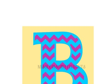 Chevron monogram  B  SVG Cut file  Cricut explore filescrapbook vinyl decal wood sign cricut cameo Commercial use