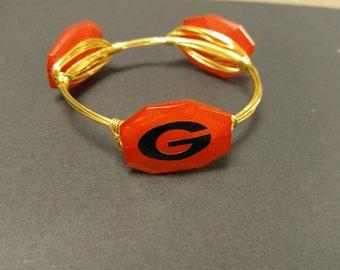 GA Bulldogs logo 3 stone wire bangle