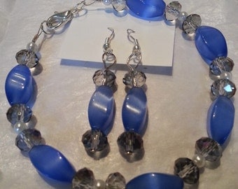 Blue & Crystal Beaded Bracelet and Earring Set