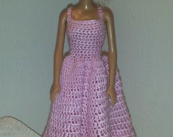 Crochet Barbie Dress, Fashion Doll Crocheted Clothing, Handmade Barbie Clothes, Pink Dress For Barbie