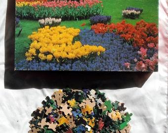 Puzzle Pieces - Craft Supply - Jigsaw puzzle Pieces - Big Ben Puzzle 1986 - Floral Puzzle Pieces
