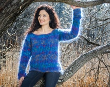 Blue Melange Hand Knitted Mohair Sweater Boatneck size S/M/L by TanglesCreations