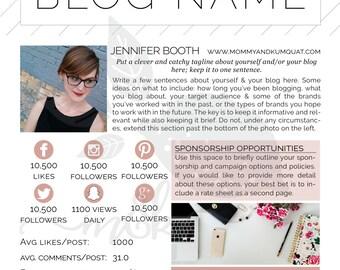 Media Kit Template- Black, Pink & Classy All Over / classy black pink white media kit template for bloggers / sponsorship kit, press kit