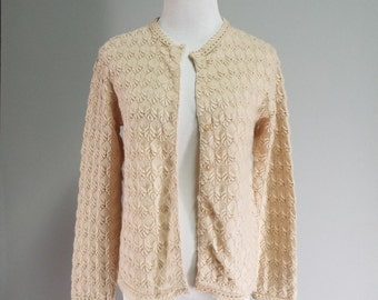 Vintage Womens 1960s Beige Knit Cardigan Sweater | Size M