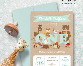 Woodland Animals First Birthday Invitation for Boy | One | 5x7 | Editable PDF | Instant Download | Personalize at home with Adobe Reader