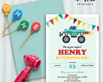 Monster Truck Birthday Invitation | 5x7 | Editable PDF File | Instant Download | Personalize at home with Adobe Reader