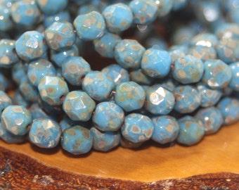 6mm Czech Firepolish 25 Beads
