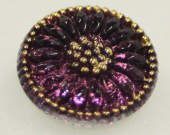 Czech Glass Button, Daisy Flower, Small, 18mm