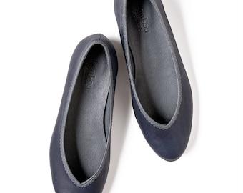 Blue shoes, Ballet flat shoes, Blue leather shoes, Leather shoes, Women's shoes, Flat shoes, Blue ballet flats, Blue ballerinas,Bridal flats