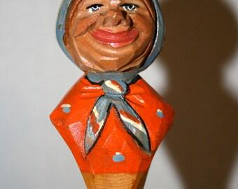 Mid-Century ANRI Style Hand Carved Bottle Cork Stopper//Man's Cave Barware//Vintage Old Lady Bottle Stopper