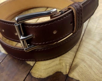 Dover Belt by 9 Gents, Brown Leather Belt, Chromexcel Leather Belt, Horween Leather, Men's Dress Belt, Handcrafted Belt, Made in USA
