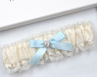 Ivory Lace Wedding Garter, Bridal Garter, Vinatge Garter, Wedding Garter, Cream Garter, Ivory Garter, Something Blue, Blue Garter, Garter