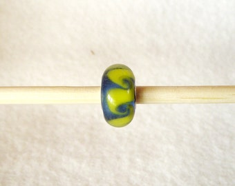 Fancy Blue Murano Glass Bead With Yellow Swirls for European Charm Bracelet 925 Sterling Silver F058