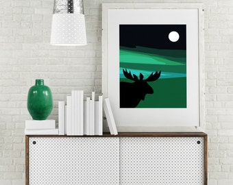 "Modern Wall Art, Mid Century Art Print, Blue Green Art, Teal Art,Sky Art, Moon Art, Moose Art, Moose Artwork, Moose Print, ""Same Moon Moose"""