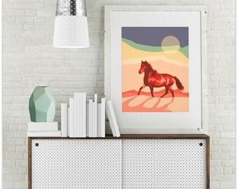 """Modern Wall Art, Wall Art Print, Modern Walll Decor, Red Horse Print, Red Horse Wall Art, Pink Wall Art, Vintage Art, """"Let Wild Horses Run"""""""