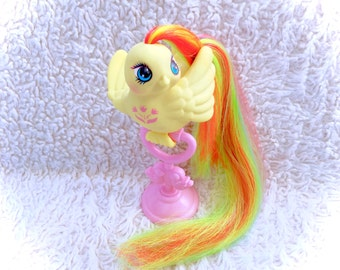 G1 1987 Tulip Tails Fairy Tails Fairytails Bird Vintage Rare My Little Pony Friends Yellow Flower Clip On Perch Stand GORGEOUS Hasbro Birdy