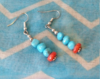 Pretty Turquoise and Red Coral Dangle Earrings