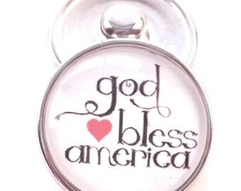 God Bless America Snap Charm