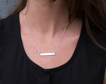 Personalized Necklace - Silver Bar Necklace - Bridesmaid Necklace - Silver Bridesmaid Jewelry