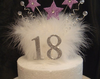 glitter star crystal white feather  any age cake birthday cake topper