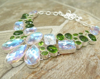Faceted Opal Quartz and Peridot Sterling Silver Necklace