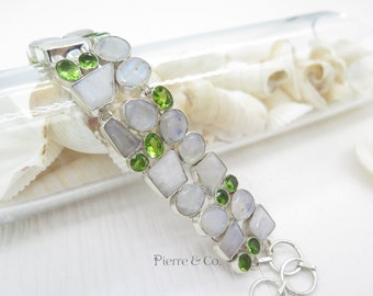 Moonstone and Peridot Sterling Silver Bracelet