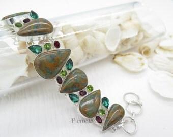Unakite Emerald Quartz Garnet Peridot Sterling Silver Bracelet