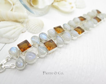 Moonstone and Citrine Sterling Silver Bracelet