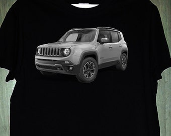 Jeep Renegade t-shirt car auto black and white, men's and women's gift present