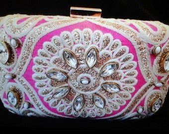Bejewelled evening clutch bag
