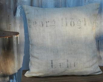 1890s Era Linen Grain Sack Pillow Cover