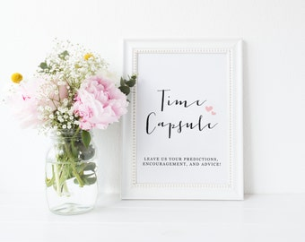 Time Capsule, Wedding Guest Book Alternative, Baby Shower Time Capsule Cards, Time Capsule Sign, Wedding Guest Book, Baby Time Capsule