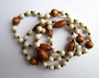 """Vintage Cream Off White Ecru Faux Bone & Wood Bead Necklace with Brown Plastic Spacers Single Strand 34"""" Opera Length Summer Festival"""