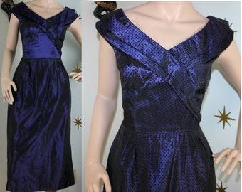 Vintage 1950s purple/blue taffeta sharkskin black velvet polka dot wiggle dress small 333